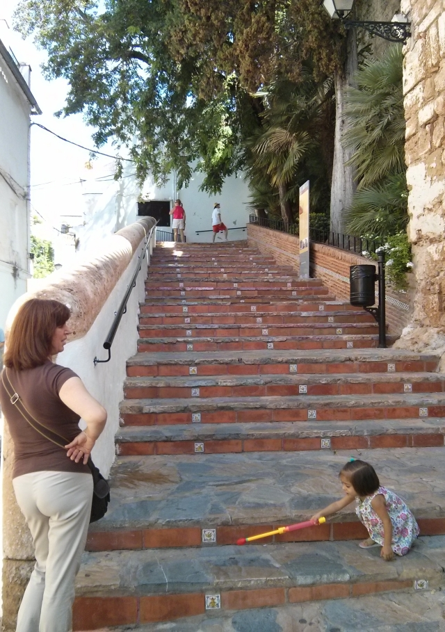 lady and child by steps
